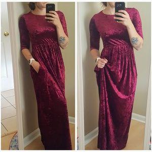 Burgundy Maxi Dress Velvet 3/4 Sleeve